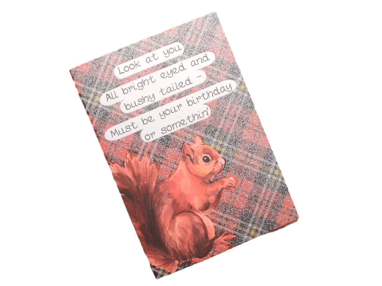 scottish birthday card tartan squirrel doric scots language humorous funny