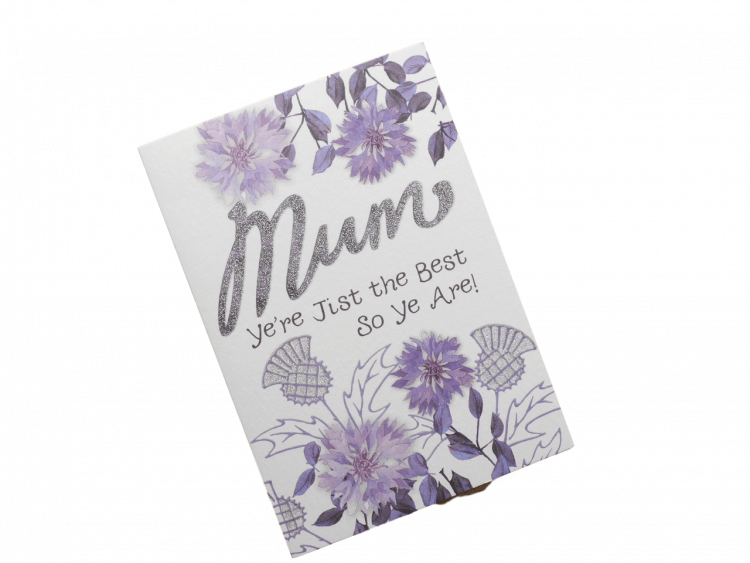 scottish mothers day card flowers silver glitter thistles doric scots language