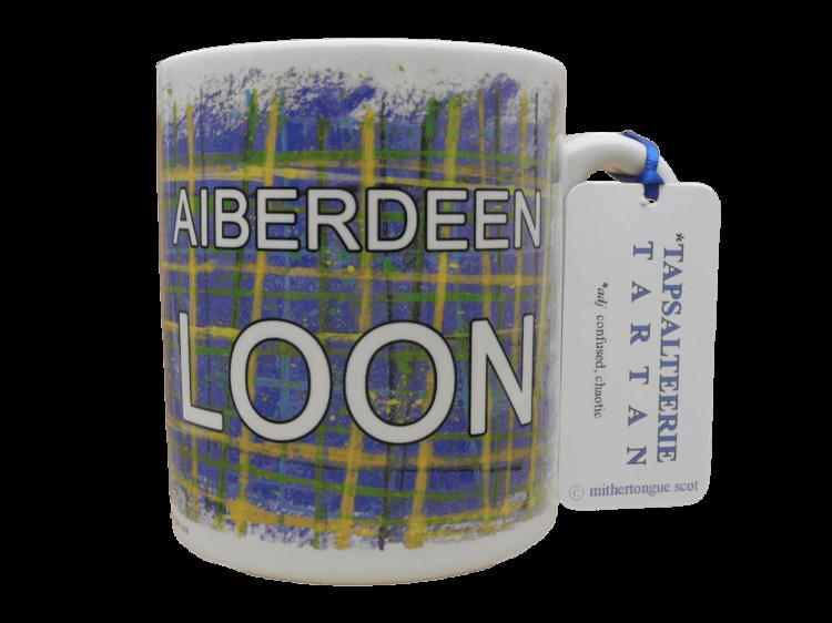 Scottish gift Scots Doric language tartan ceramic mug Aberdeen Aiberdeen loon