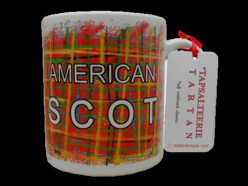 Scottish gift tartan ceramic mug American scot red