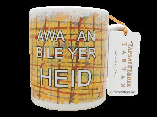 Scottish Scots language Doric gift tartan ceramic mug insult awa an bile yer heid yellow