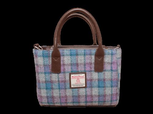scottish ladies gift harris tweed handbag shoulder bag grey lilac teal