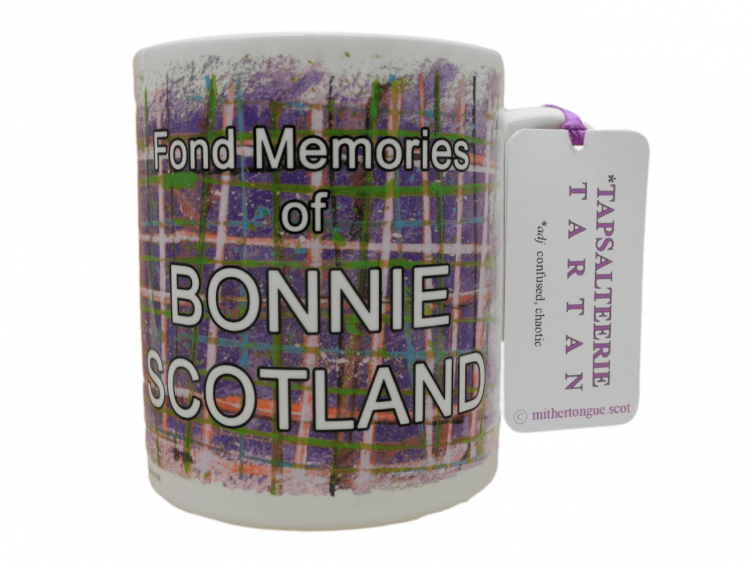 Scottish gift tartan ceramic mug fond memories bonnie scotland