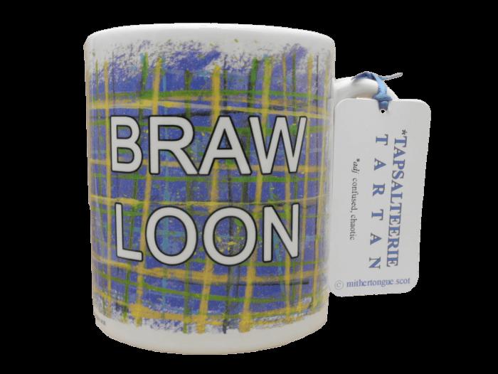 Scottish Scots language Doric gift tartan ceramic mug braw loon