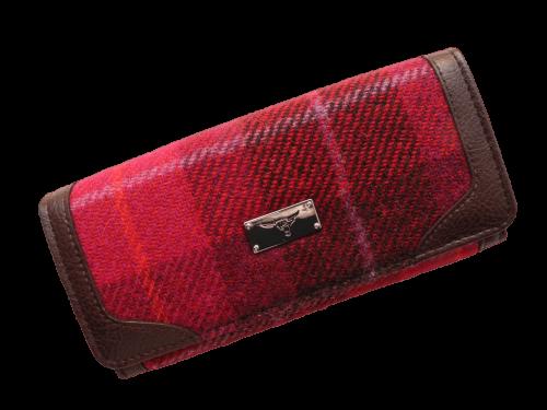 scottish ladies gift harris tweed purse wine check