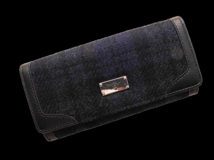 scottish ladies gift harris tweed purse black watch tartan