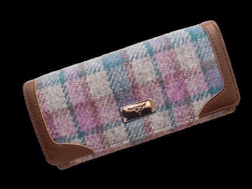 scottish ladies gift harris tweed purse grey lilac teal check