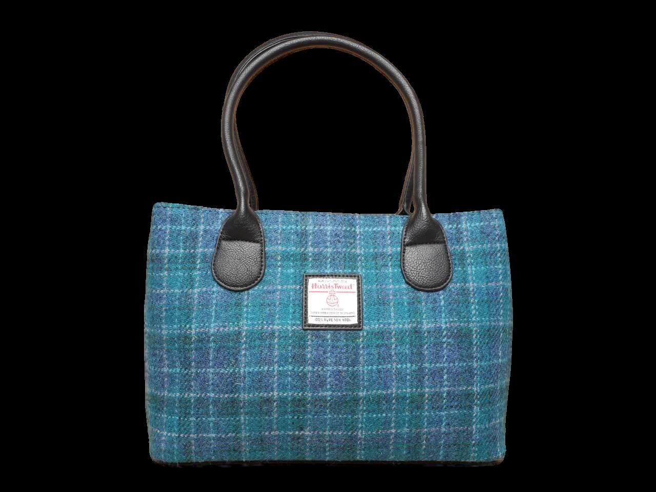 scottish ladies gift harris tweed handbag shoulder bag sea green check