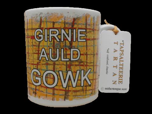 Scottish Scots Doric language insult tartan ceramic mug girnie auld gowk yellow