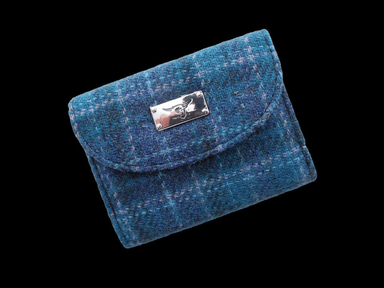 scottish ladies gift harris tweed purse sea green check