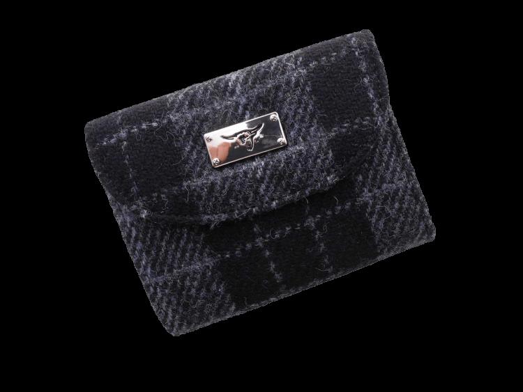 scottish ladies gift harris tweed purse black grey check