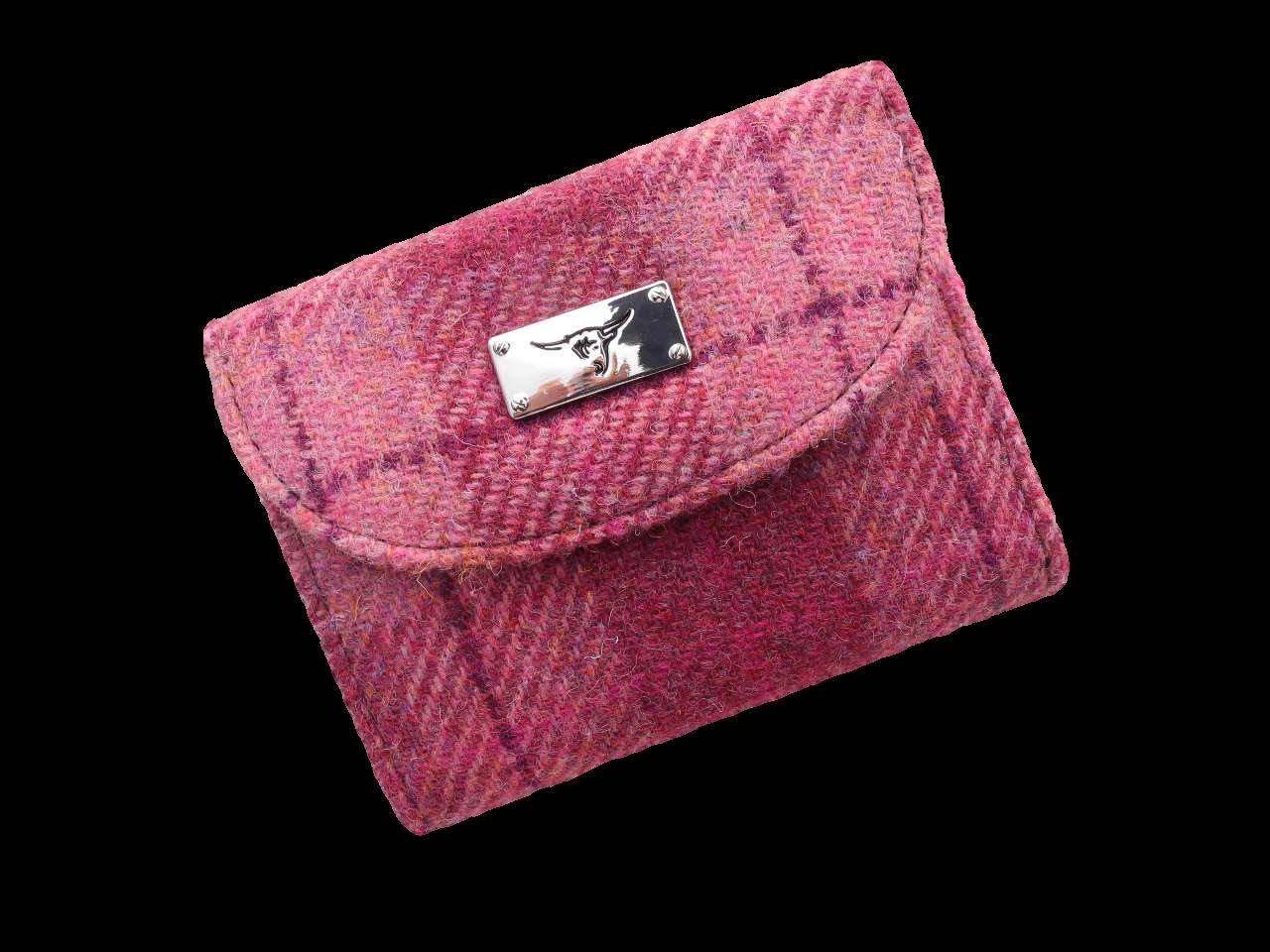 scottish ladies gift harris tweed purse pink wine check