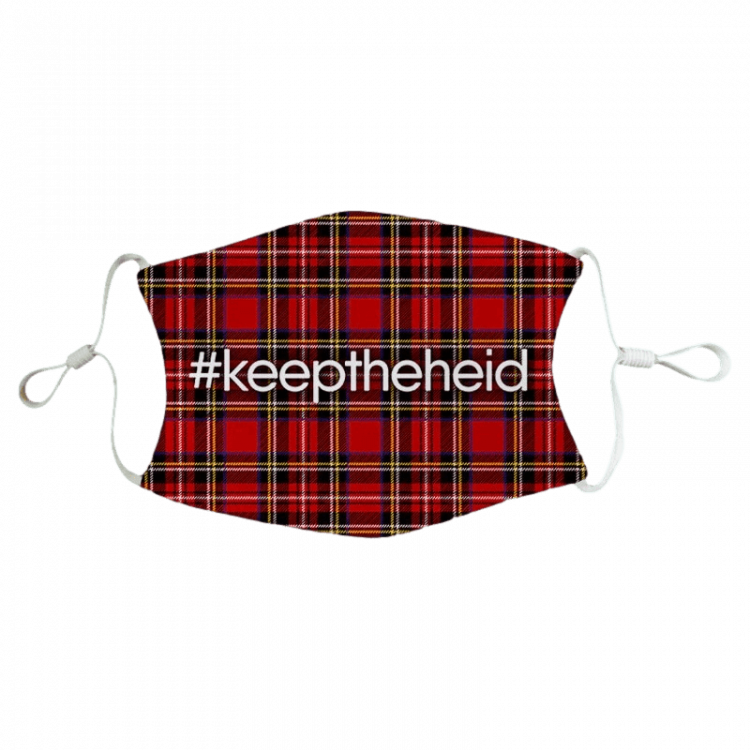 scottish gift scots language doric keep the heid fun humorous face covering mask red tartan