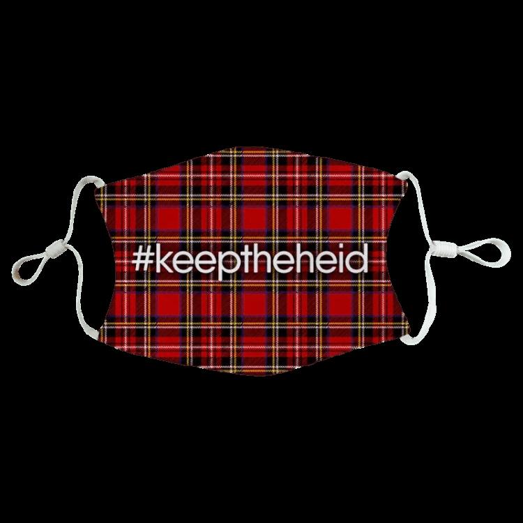 scottish gift scots language doric keep the heid fun humorous face covering mask red tartan