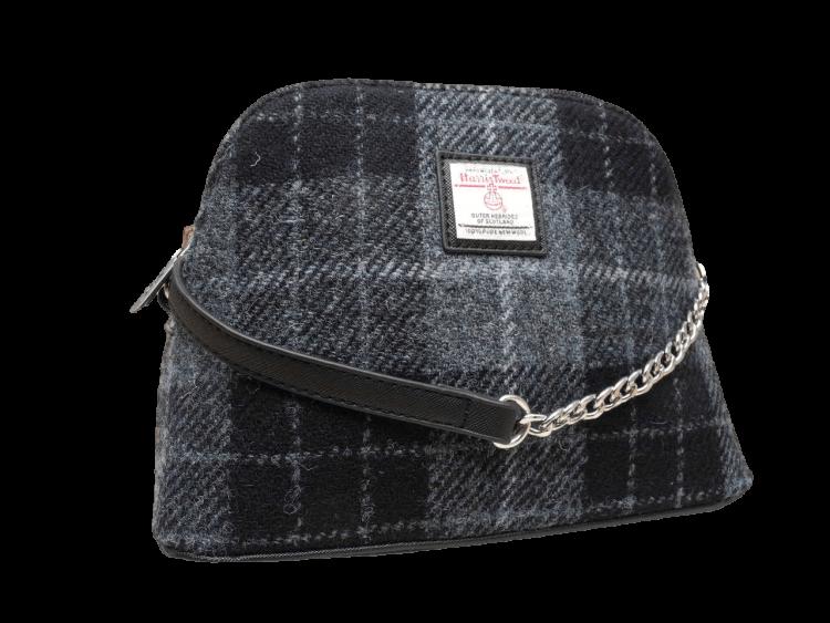 scottish ladies gift harris tweed handbag shoulder bag grey check