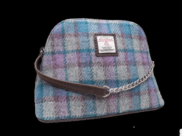 scottish ladies gift harris tweed handbag shoulder bag grey lilac teal check