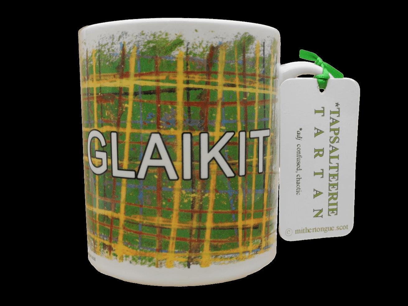 Scottish Scots language Doric gift tartan ceramic mug insult glaikit green