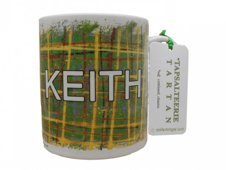 Scottish gift tartan ceramic mug town Keith Moray Scotland green