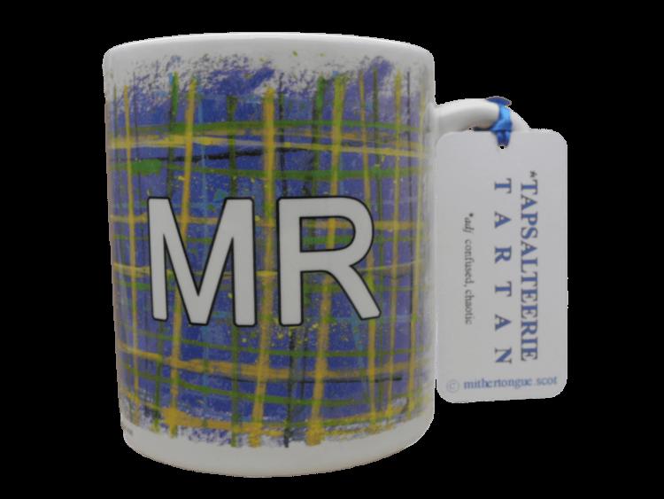 Scottish gift tartan ceramic mug for him Mr blue