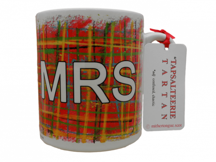 Scottish gift tartan ceramic mug for her Mrs red