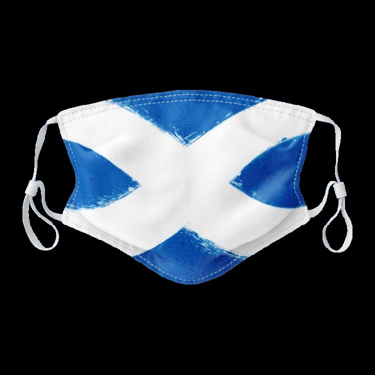 scottish gift saltire scottish flag face covering mask blue white